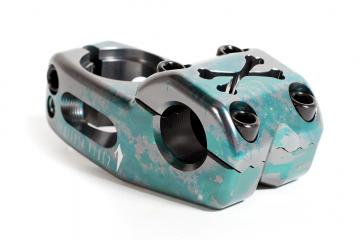 "Tempered Bikes ""Cross Bones"" Top Loader Stem - green splatter"
